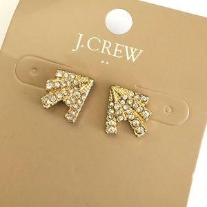 J. CREW Crystal Fan Stud Earring NWT $22.50